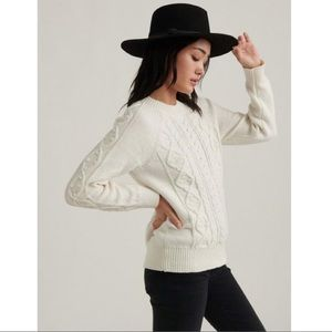 Lucky Brand White Cable Knit Crew Neck Sweater